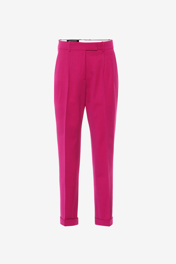 Pink wool trousers with straight legs