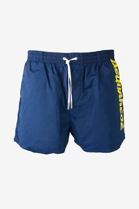 Navy colored swin shorts yellow logo at the side
