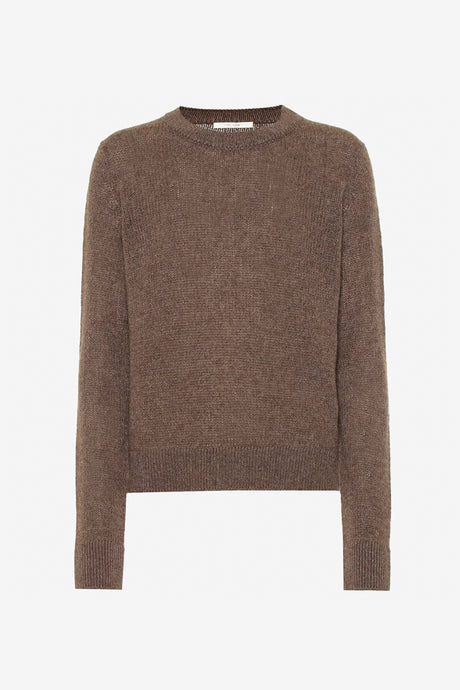 Muriel Cashmere Sweater in brown long sleeves