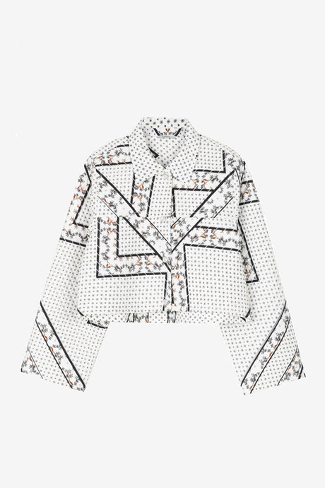 Printed cotton jacket in quilted qualty