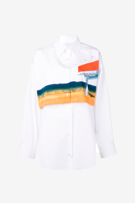 Printed Shirt with layers white long sleeves