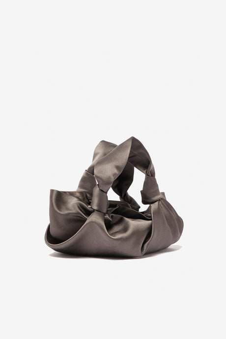 Ascot Silk Clutch knotted handles grey