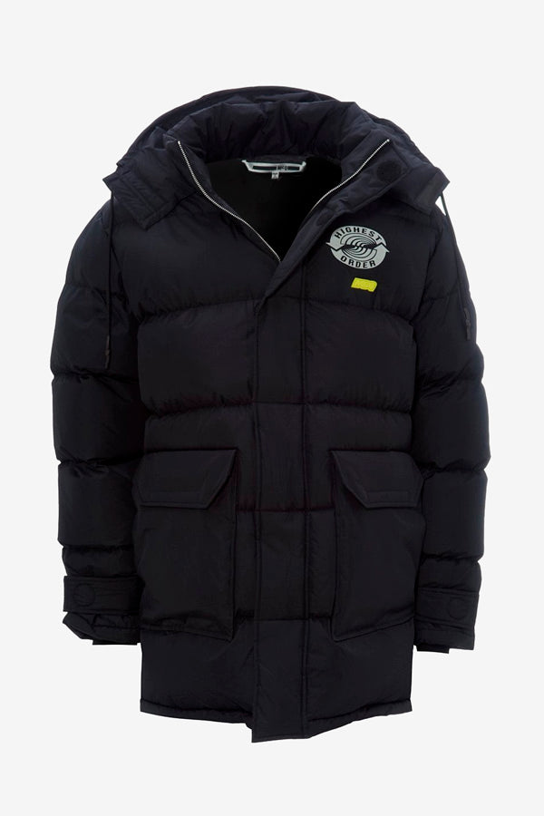 Large down coat with detachable hoodie