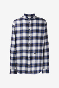 Blue checked shirt long sleeves classic collar