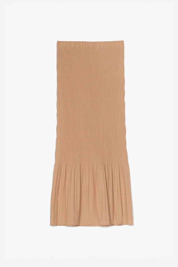 Pleated skirt camel medi lenght