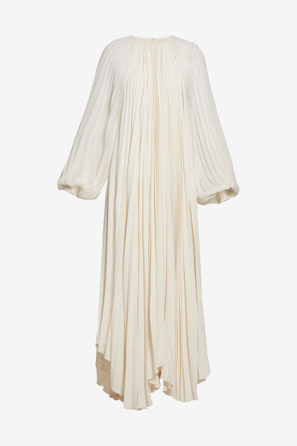 Martina Pleated Dress in bone lons sleeves