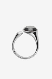 Sterling silver ring with a 10 MM black diamond