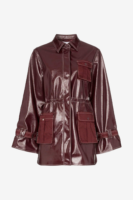 Bordeaux patent leather jacket with long sleeves