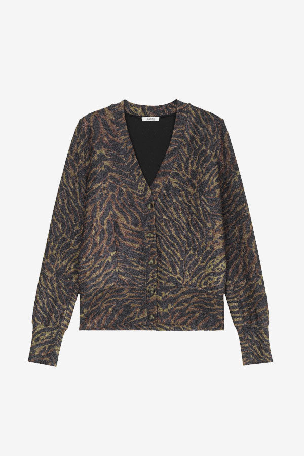 Lurex Tiger Cardigan animal print jersey long sleeves