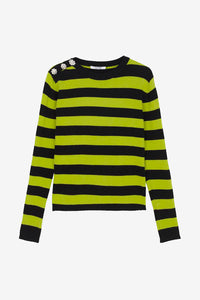 Striped sweater green black embellished crystals