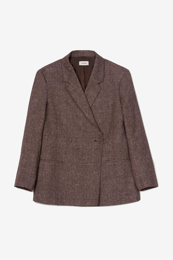 Brown melange double-breasted blazer Loreo