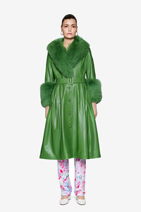 Saks Potts Green Lamb Leather Foxy coat