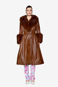 Saks Potts Brown Walnut Lamb Leather Foxy coat
