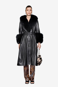 Saks Potts black Lamb Leather Foxy coat