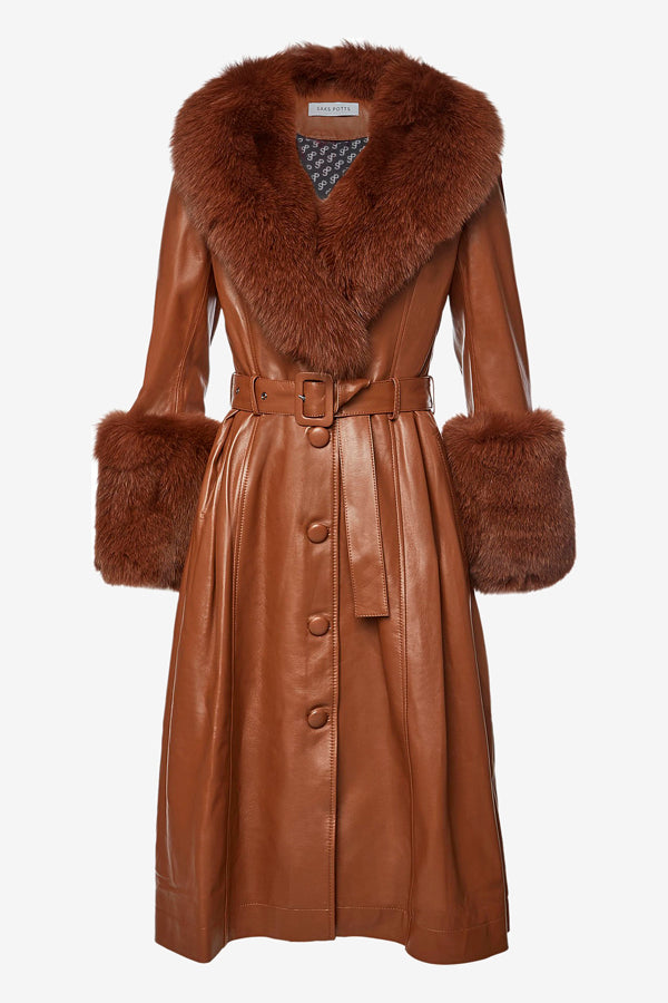 Long leather coat with fur details from Saks Potts