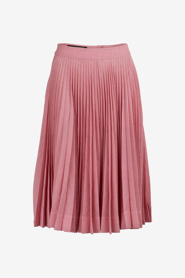 Pleated skirt with an asymmetrical silhouette