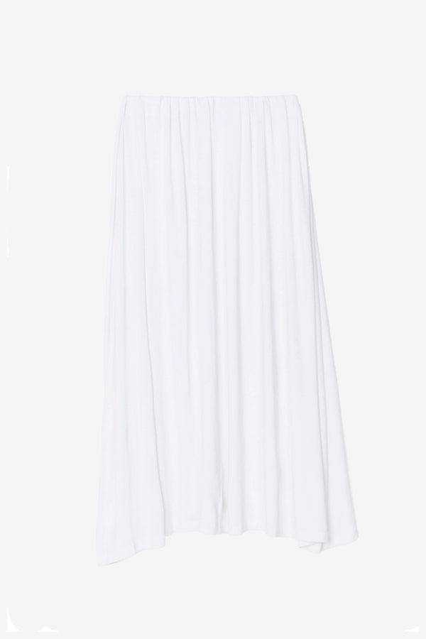 Amelia white draped skirt asymmetrical