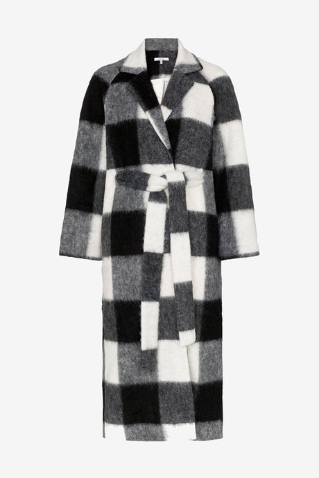 Long coat with checks and long sleeves