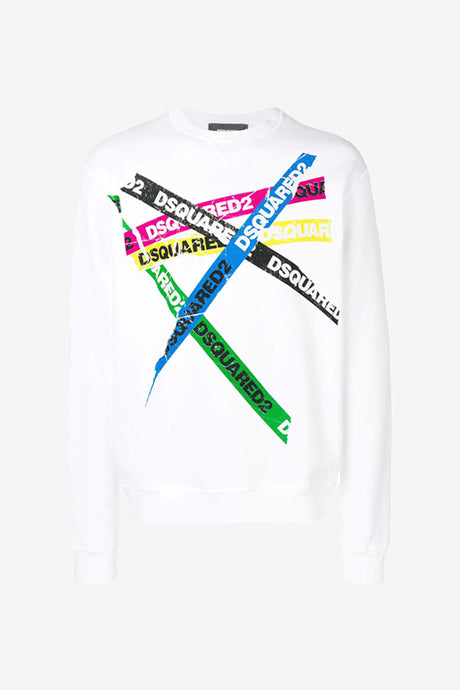 White sweatshirt tape print long sleeves