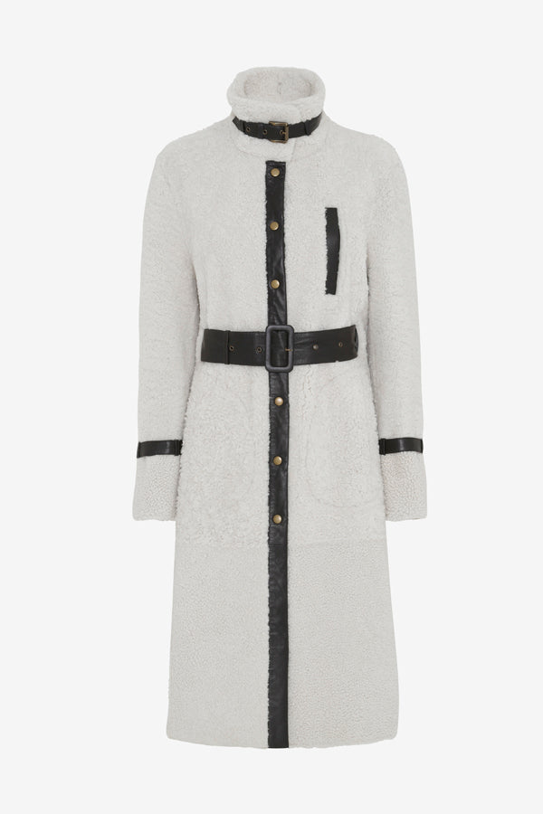 Shearling coat in white with waist belt and leather details