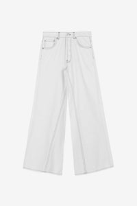 Wide leg denim pants white Ganni