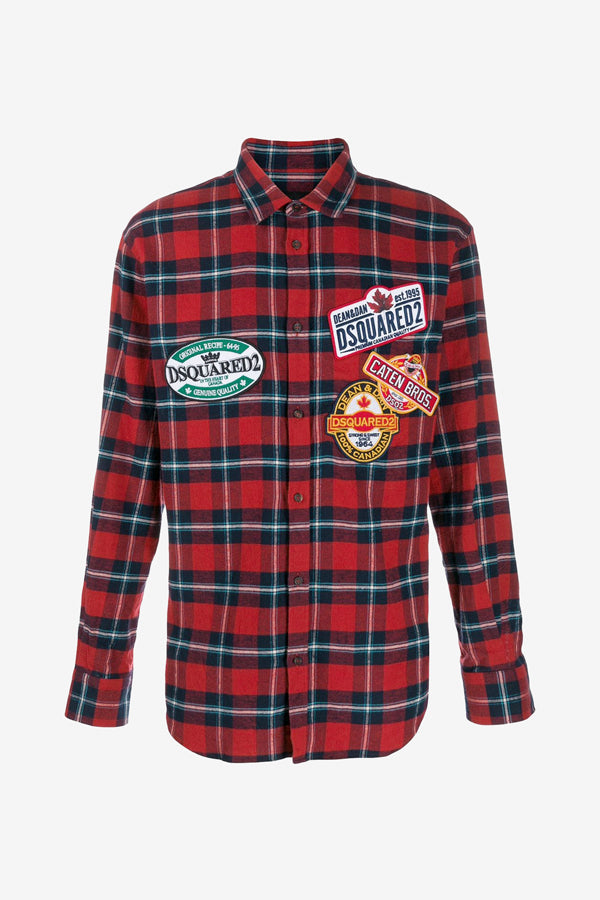 Checked shirt in red with embroidery