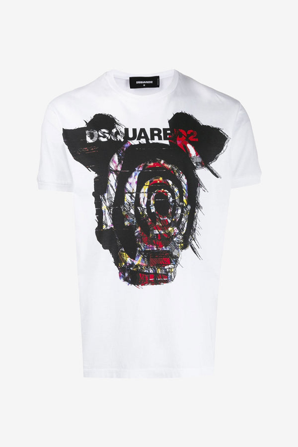 Graphic t-shirt with short sleeves white