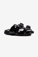 Black leather sandals with two straps slip in