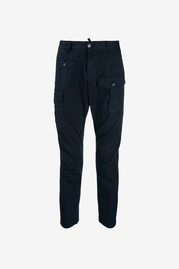 Cotton Cargo Pants with flap pockets and tapered legs