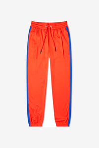 Red tracksuit pants with blue down the side