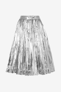 Metallic silver skirt with pleats