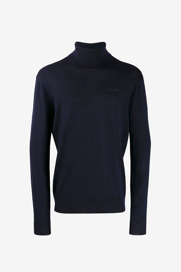 Knitted turtleneck in navy long sleeves