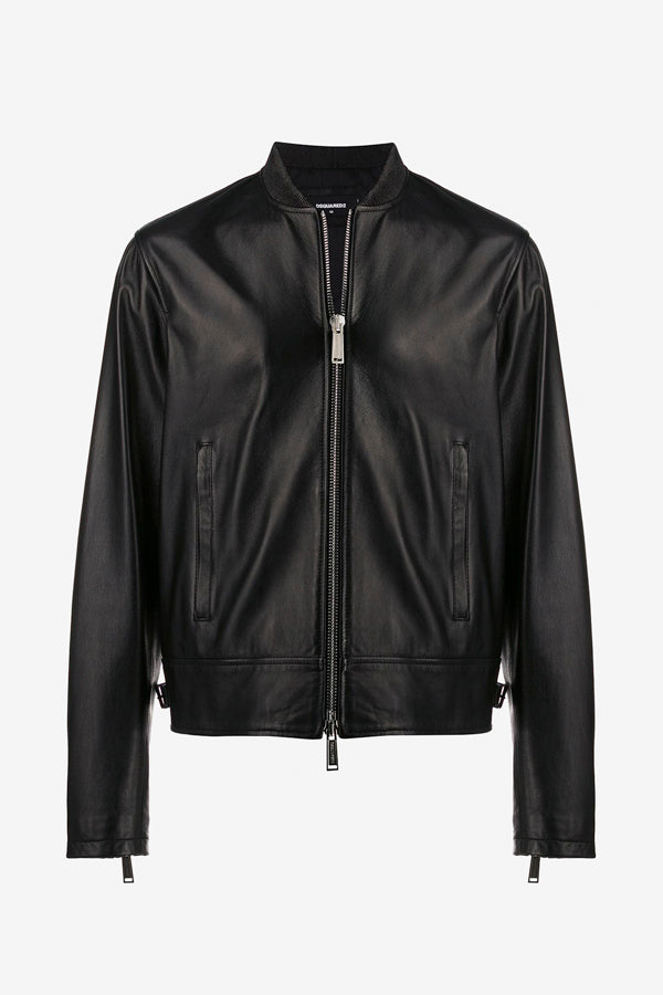 Black Biker leather jacket with zip closure and side pockets