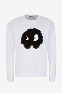 White crew neck with large MCQ logo