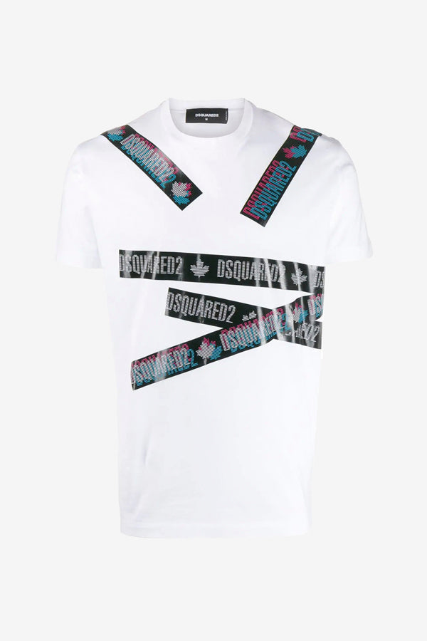 White logo-tape t-shirt with short sleeves
