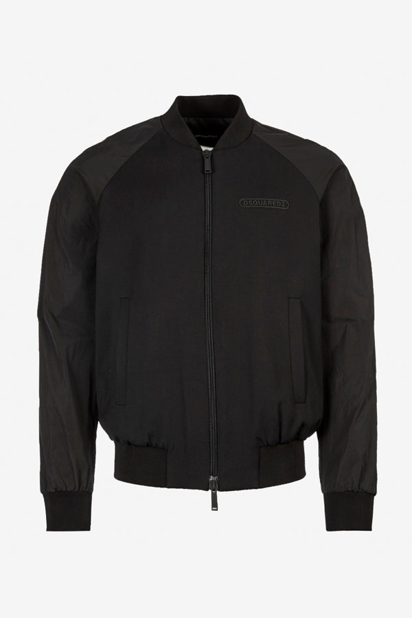 Black Nylon bomber with two-way zipper and boxy fit
