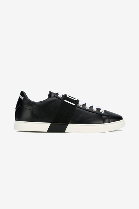 Black leather sneakers with ICON logo
