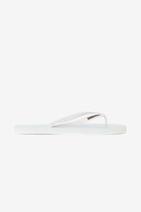 White flip flops with logo at the front