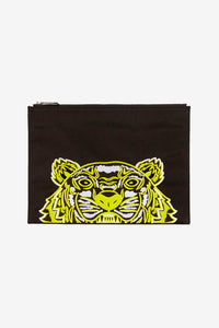 Pouch in black with a zipper fastening and large embroidered logo of tiger on the front in yellow, and Kenzo logo on the back in white.