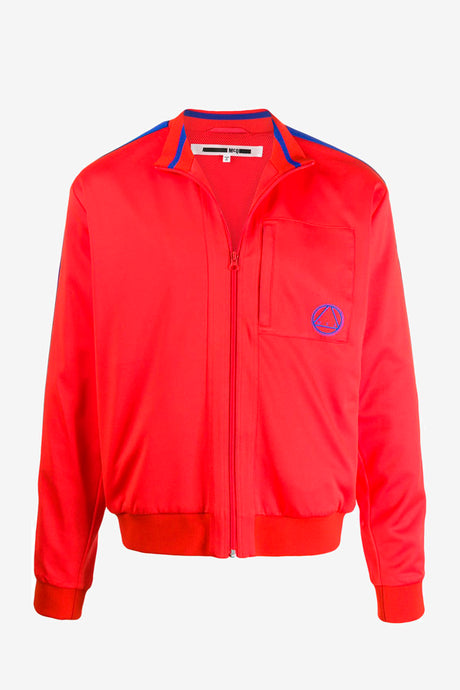Red sweat with zipper at the front and blue details