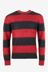 Black/red striped wool sweater