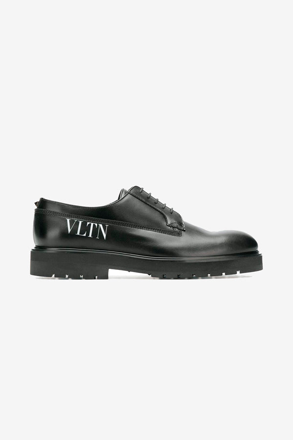 VLTN Derby Shoes in black white logo