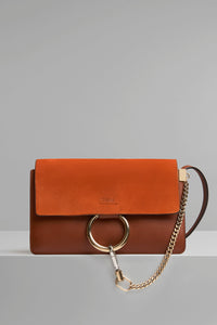 Chloe Faye small Tobacco suede camel brown gold hardware
