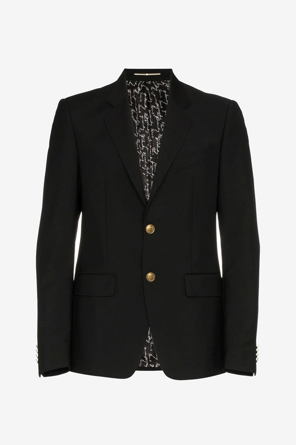 Wool and Mohair Blazer Jacket in black with long sleeves and gold button