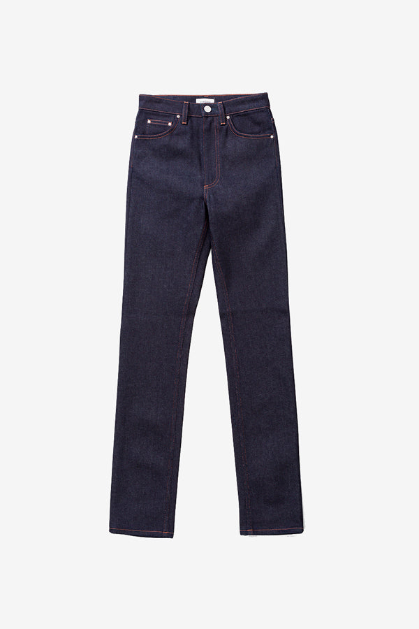 Straight legged pants in dark blue denim