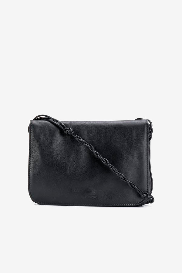 Small leather bag with knotted shoulder strap