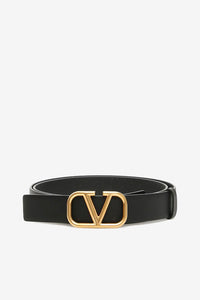 Black belt with gold colored buckle with the iconic Valentino logo