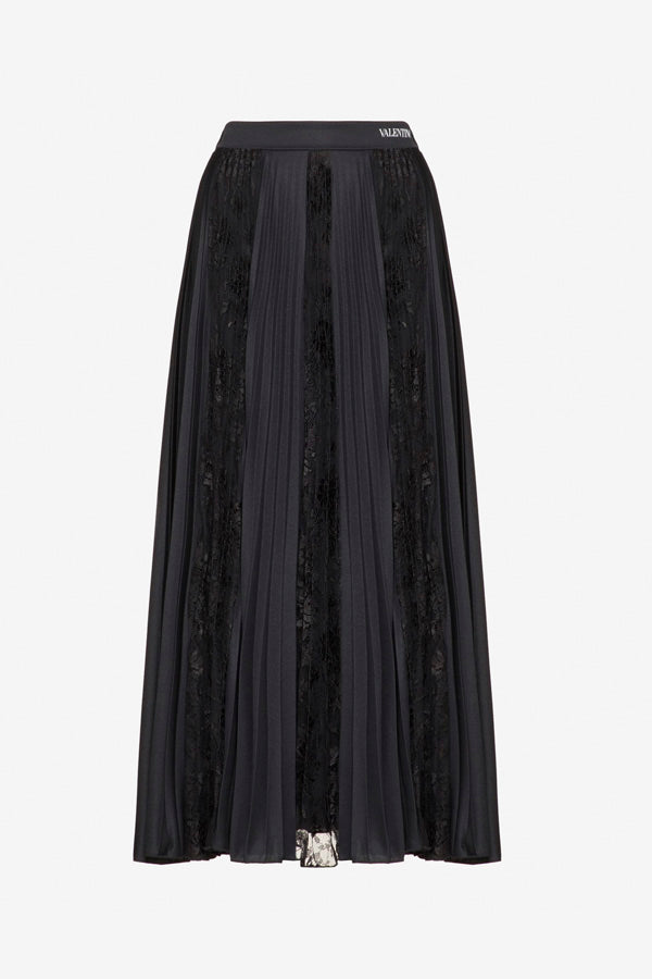 Jersey and lace skirt in black from Valentino