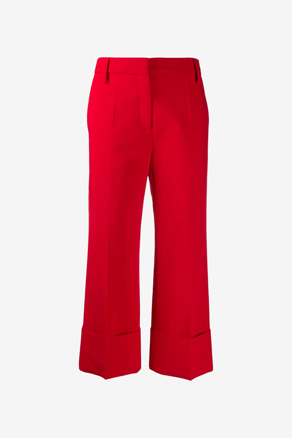 Cropped red pants in fine wool