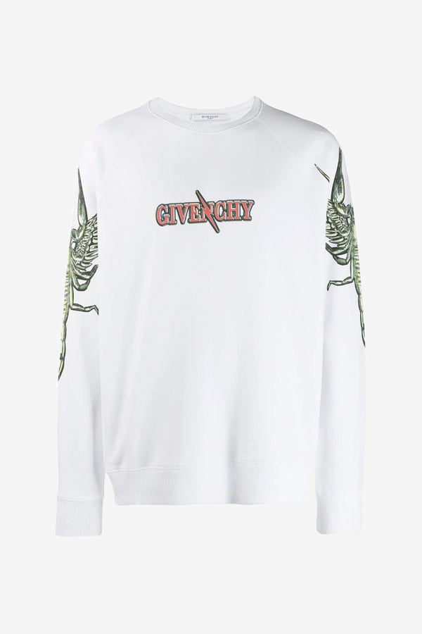 Printed scorpion sweatshirt with long sleeves and round neckline